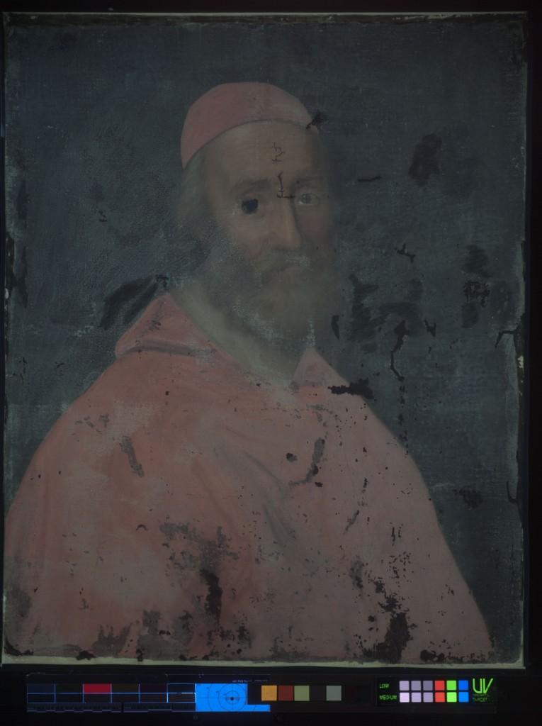 Painting shown under UV light