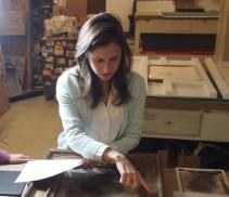 Ana Alba inspecting frame